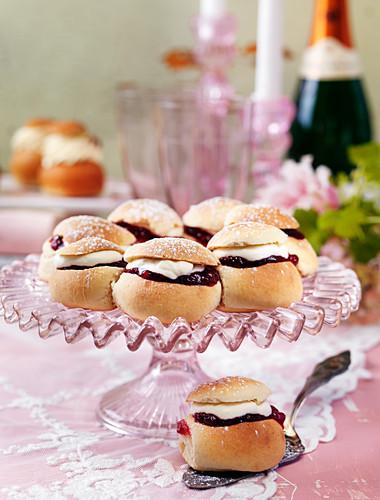 Semla (yeast pastries with cream and jam, Sweden)