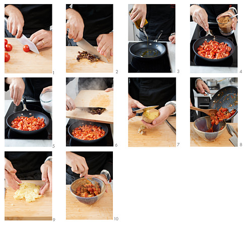 A tomato, olive and potato ravioli filling being made