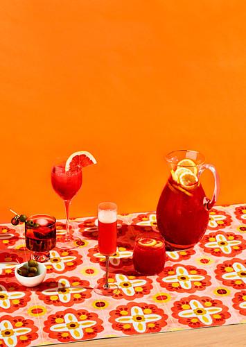 Cocktails: Venetian Spritz, Aperol Grapefruit Cocktail, Aperol Mimosa, Watermelon Aperol Punch