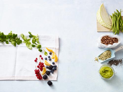 Healthy ingredients - superfoods, proteins, fruit and vegetables