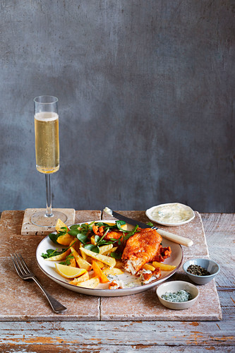 Sparkling wine battered fish and chips