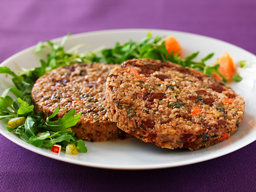 Beetroot and cabbage fritters with rocket salad