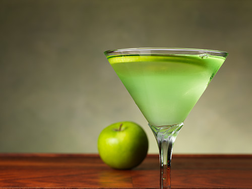 Appletini in a stemmed glass