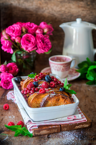 Bread pudding with berries