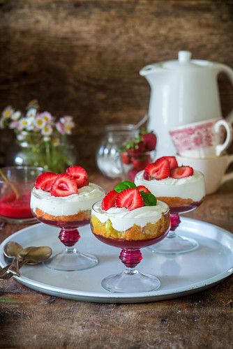 Strawberry trifle with jelly, sponge and cream