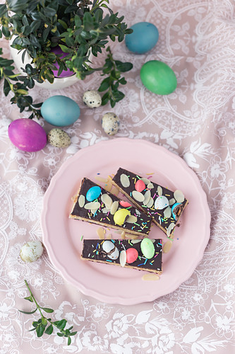 Mazurek (No bake Polish Easter cake) with marzipan filling and chocolate