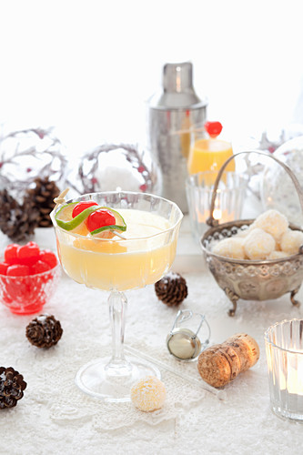 A Christmas eggnog cocktail with white chocolate truffles
