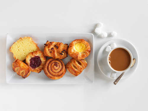 Breakfast pastries and a cup of coffee