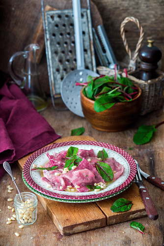 Beetroot ravioli with ricotta filling
