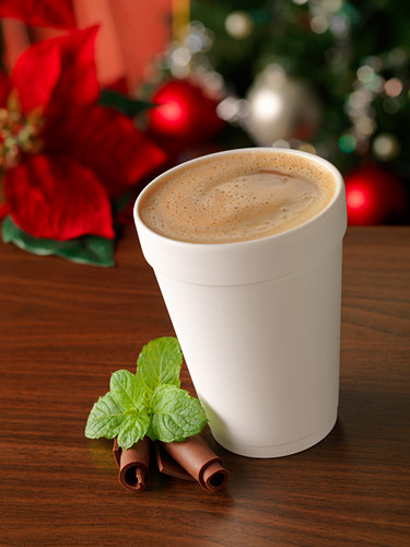 A hot chocolate with mint