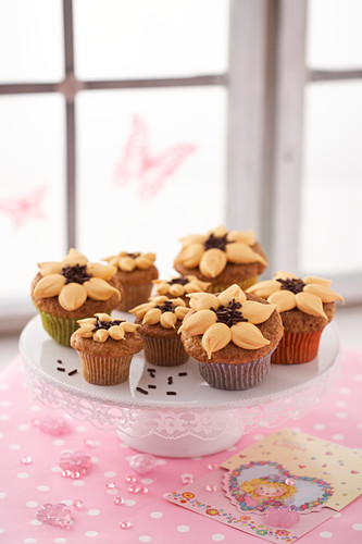 Sunflower muffins on etagere