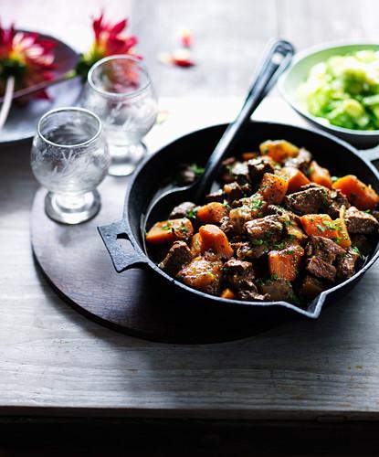 Daube de boeuf (beef stew, France) with carrots