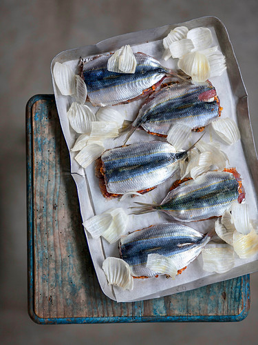 Sardines with a tomato and primo sale cheese filling on a baking tray ready to roast