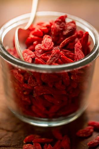 Goji berries in a glass