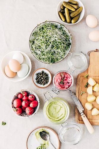 Ingredients for deviled egg potato salad