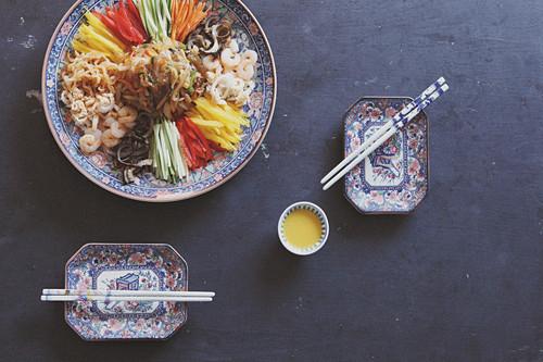 Yang Jang Pi (Korean Noodles With Vegetables And Seafood)