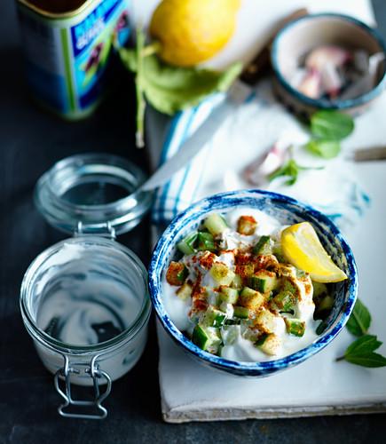 Tzatziki with cucumber, lemon, mint and garlic