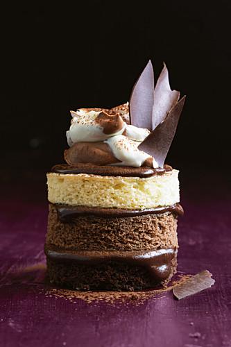 A tripe chocolate cake tower