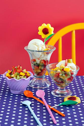 Honey Buttermilk Ice-cream with Fruit Salsa for Kids