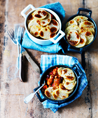 Hotpots with beans, sausage and potatoes