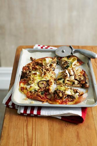 Wild Mushroom, Brie and Walnut Pizza