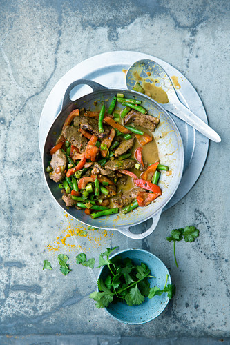 Lamb with stir-fried vegetables