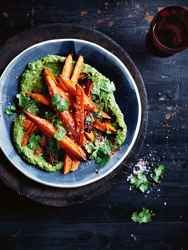 Warm salad of carrots, coriander and chilli salt
