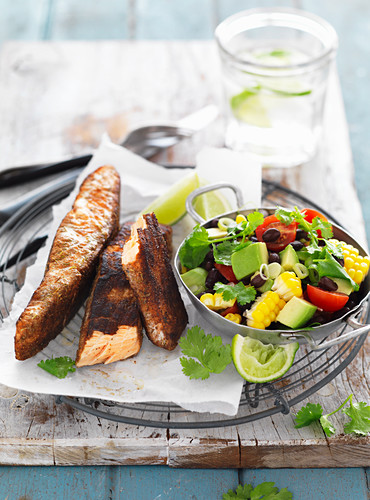 Jerk Salmon with Black Bean Salad