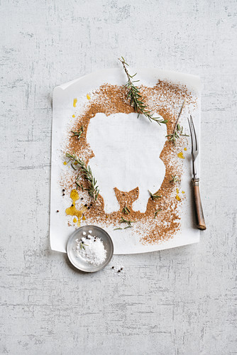 A still life with a chicken template, spices and herbs