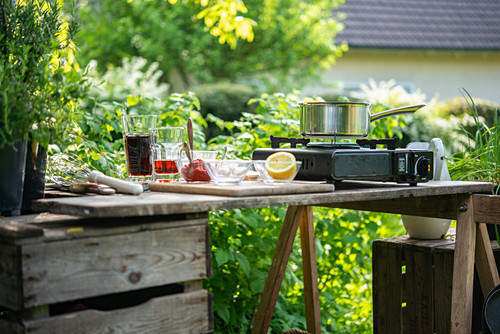 Ingredients for homemade barbeque sauce on a garden table