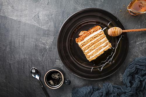 Sweet homemade layered honey cake