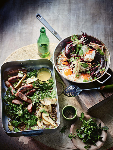 Italian sausage, pear, lentil and watercress salad and (right) blood sausage with beetroot, apple and fried egg