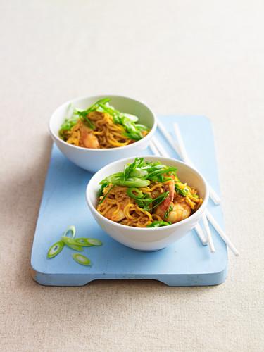 Singapore prawns with noodles