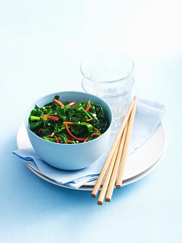 Wokked chilli garlic spinach