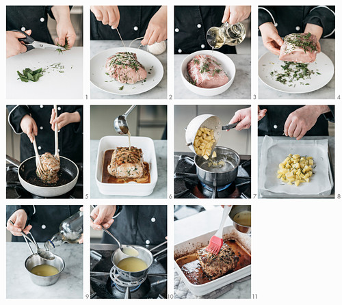 How to make oven roasted pork with caramelized lemon sauce and potatoes