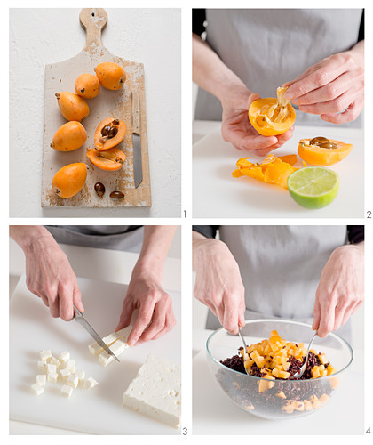 How to make a rice salad with feta and loquat