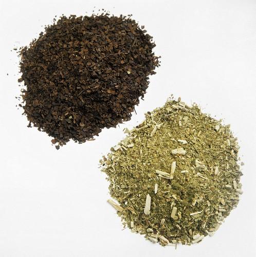 Two Piles of Tea; Green Tea and Roasted Tea