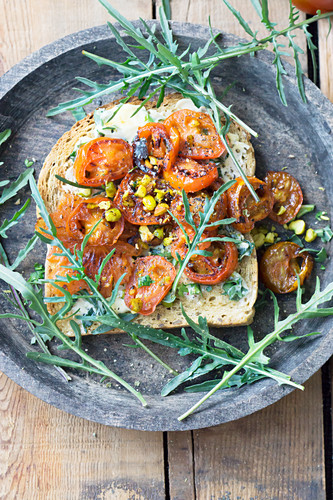 Tomato bread with rocket butter