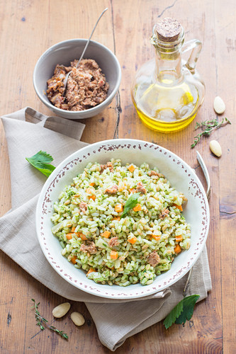 Rice Salad with Pesto and Vegetables