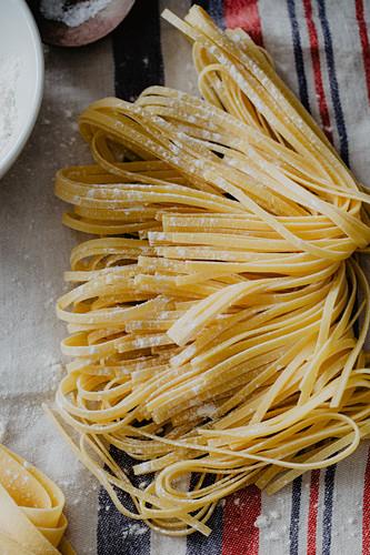 Fresh homemade ribbon noodles
