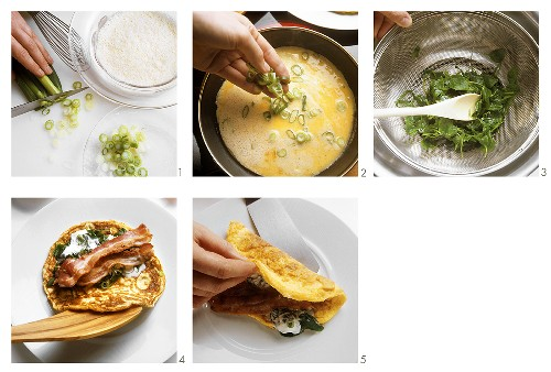 Preparing onion omelette with spinach and bacon