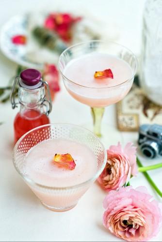 Rhabarbercocktail mit Sirup und Gin