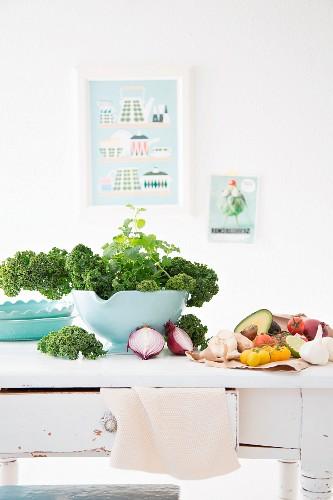 Fresh vegetables on kitchen table