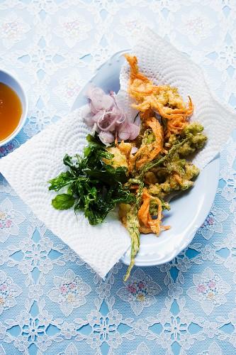 Yam Pak Grob (fried herb salad, Thailand)