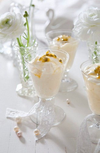 White chocolate mousse with passion fruit