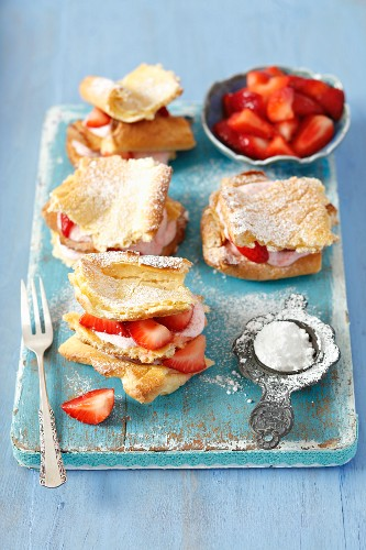 Slices with strawberry mousse