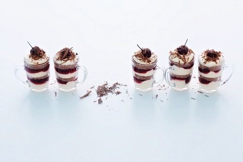 Black Forest gateaux style tiramisu in glasses