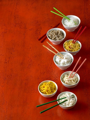 Assorted types of noodles from Asia