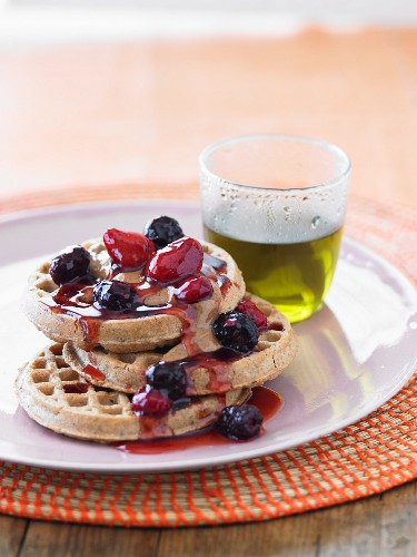 Waffles with berries and tea