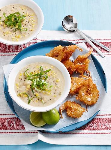 Coconut corn chowder & prawns